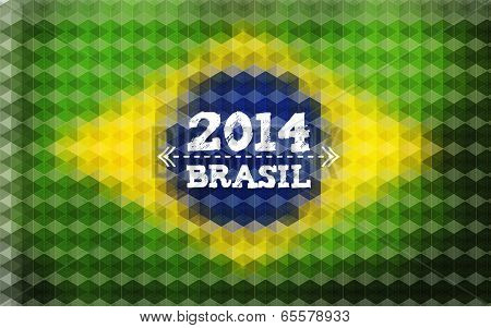 Background with Brasil Flag, 2014 Brasil Lettering.