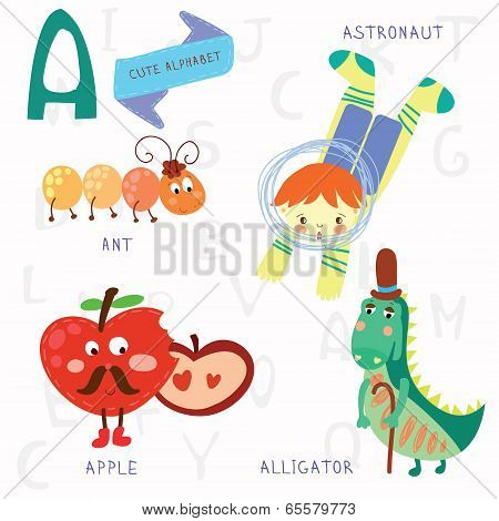 Very Cute Alphabet.a Letter. Ant, Astronaut, Apple, Alligator.