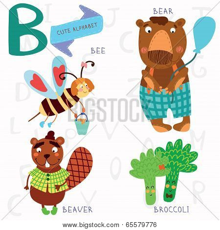 Very Cute Alphabet.b Letter. Bee, Beaver, Bear, Broccoli.