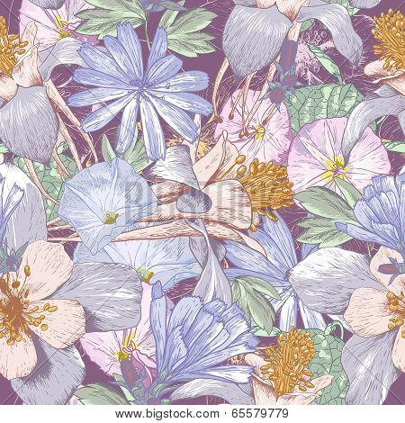 Summer seamless pattern with wildflowers.