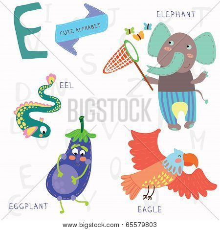 Very Cute Alphabet.e Letter. Elephant, Eagle, Eggplant, Eel.
