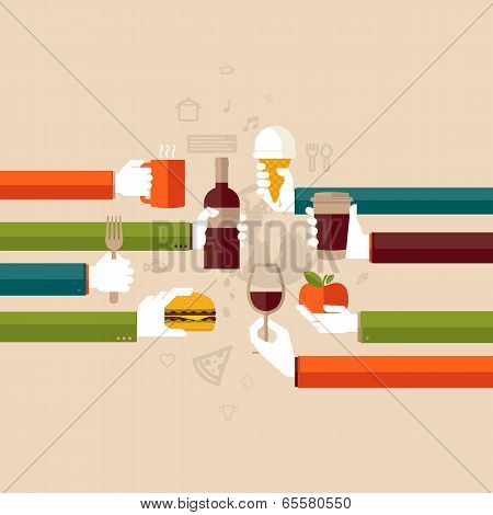 Flat design illustration concept for restaurant