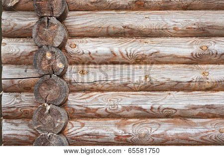 Natural Background Pattern Of Log Wall.