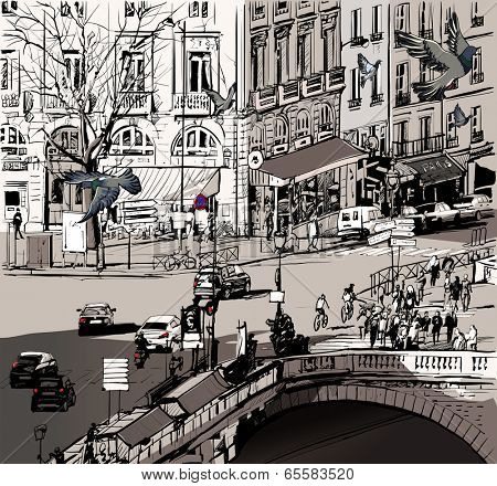 Vector illustration of a view over Saint Michel bridge in Paris
