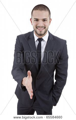 young man in suit offering to shake the hand