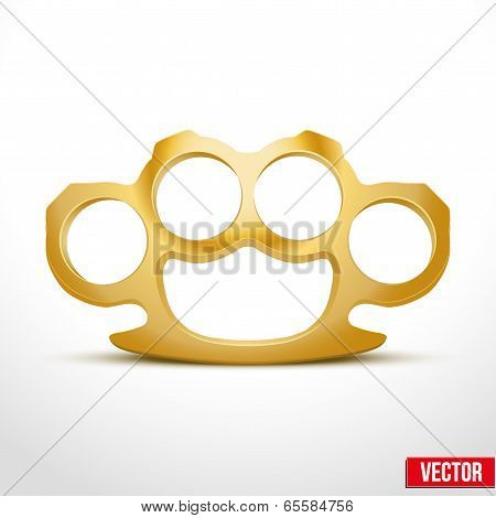 Gold Metal Brass knuckles vector illustration