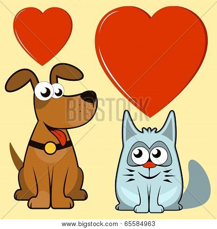 isolated dog and cat lovers