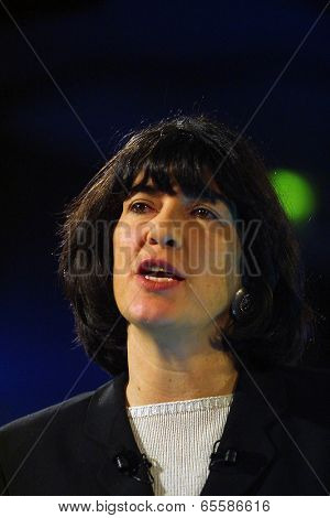 BUDAPEST, HUNGARY - NOV. 6, 2003: CNN anchorwoman Christian Amanpour moderates a media event in Budapest, Hungary, on November 6, 2003.