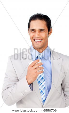 Confident Businessman Holding A Drinking Cup