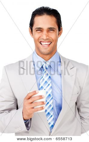 Portrait Of A Smling Businessman Holding A Drinking Cup