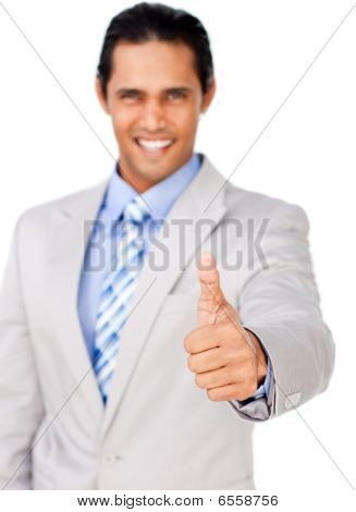 Portrait Of An Attractive Businessman With Thumb Up