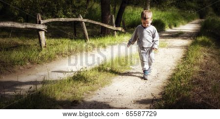 A little boy counts steps on a country road