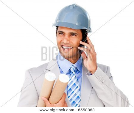 Confident Architect On Phone Carrying Blueprints