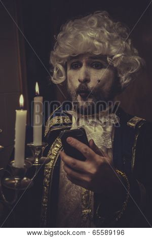 Selfie, man with mobile, white wig and candlestick nineteenth century