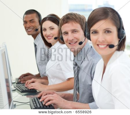 Multi-ethnic Business People With Headset On