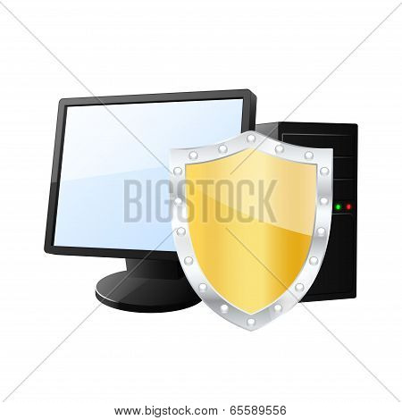 Protected Computer Icon. Vector Illustration