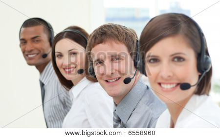 Smiling Customer Service Agents With Headset On