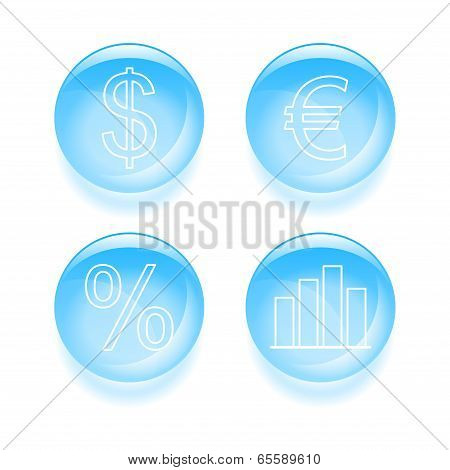 Glassy Finance Icons. Vector Illustration