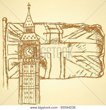 Sketch Big Ben On Tile With Uk Flag, Vector  Background