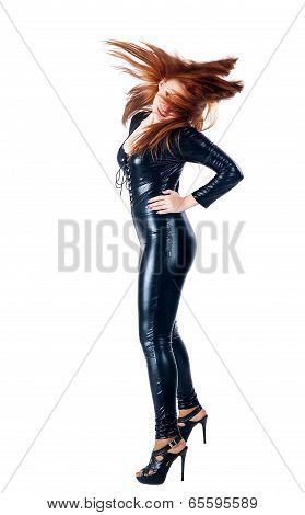 beautiful woman in latex costume