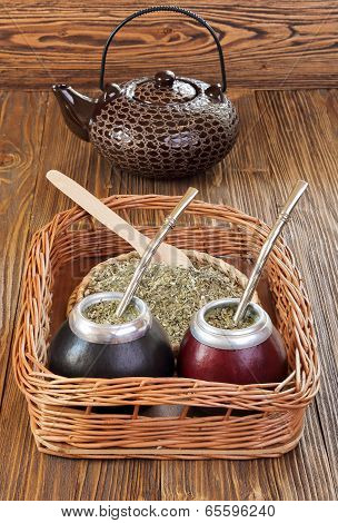Yerba Mate And Mate In Calabash On A Wicker Tray