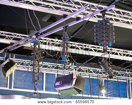 Television Studio Light Equipment, Spotlight Truss, Cables,  Microphones