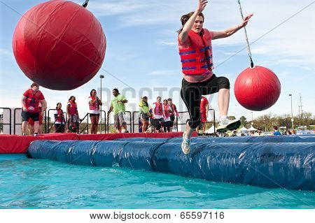 Woman Falls Into Water At Crazy Obstacle Course Race