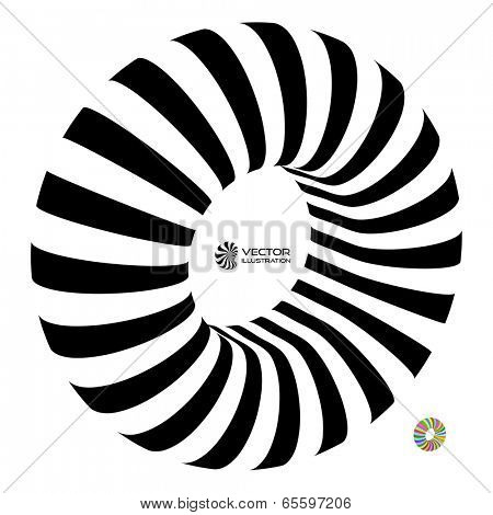 Torus. Vector 3D illustration. Abstract for internet sites, web user interfaces (ui) and applications (apps). Infinity sign. Black and white.