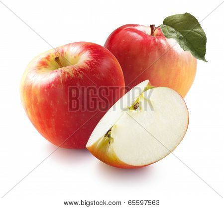 Honeycrisp Apples And Quarter Isolated On White Background