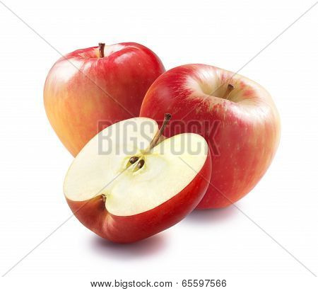 Honeycrisp Red Apples And Half Isolated On White Background