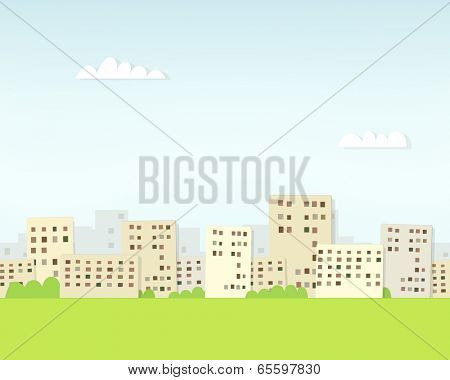 cartoon urban landscape under clouds. seamless paper pattern