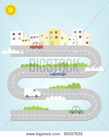 cartoon road map of the city with houses and cars