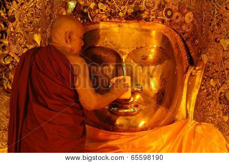 The Ritual Of Daily Face Washing Mahamyatmuni Buddha Every Morning.