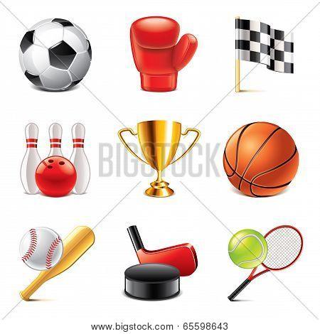Sport Icons Photo-realistic Vector Set