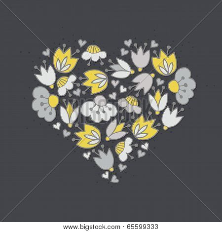 Messy different colorful yellow gray flowers and hearts in heart shape on dark centerpiece illustrat