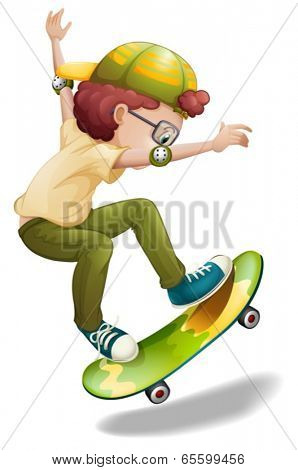 Illustration of an energetic boy skating on a white background
