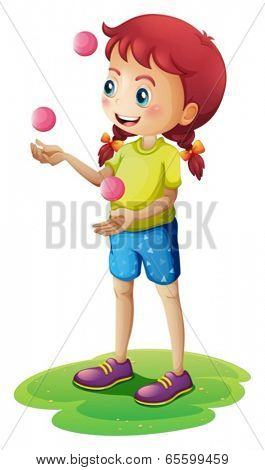 Illustration of a young girl juggling on a white background