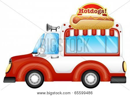 Illustration of a vehicle selling hotdogs on a white background