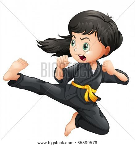 Illustration of a brave girl doing karate on a white background