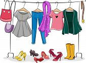 picture of racks  - Illustration Featuring a Clothing Rack Full of Female Clothing - JPG