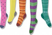 stock photo of knee-high socks  - Illustration Featuring Colorful Socks on a Hanger - JPG