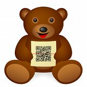 stock photo of qr codes  - Teddy bear QR code on a white background - JPG