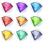 image of gem  - Illustration of a set of glossy and bright cartoon gems stones diamonds minerals and jewels icons for game user interface - JPG