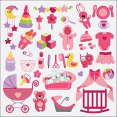 stock photo of baby doll  - A set of cute items for Newborn Baby - JPG