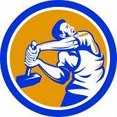 stock photo of striking  - Illustration of a union worker strike striking using sledgehammer hammer done in retro style set inside shield crest on isolated white background - JPG