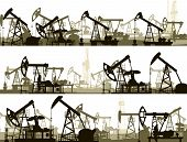 picture of oilfield  - Set of horizontal vector banners with large number oil pumping units - JPG