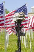 foto of veterans  - Vintage Vietnam era helmet at a celebration of Veterans of Foreign Wars in Sutherlin Oregon - JPG