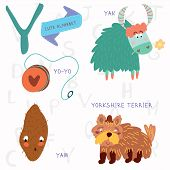 stock photo of yaks  - Alphabet design in a colorful style - JPG