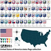 stock photo of texas map  - Vector of map United States of America with all states flags collection - JPG