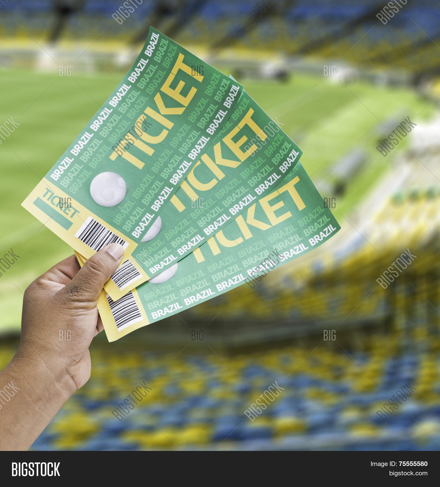 hand holds a homemade soccer tickets in the stadium stock hand holds a homemade soccer tickets in the stadium